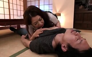 Horny asian mature milf giving blowjob increased by russian