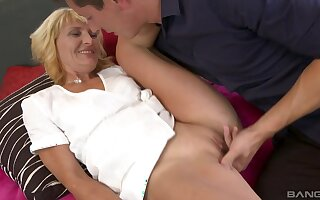 Old vs young porn videotape with small boobs blondie Iveta and her follower groupie