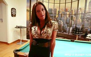 Busty brunette MILF in sexy blacklist lingerie Mandy Flores loves blowjob