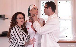Female falsify coupled with the brush slutty nurse, immense horseshit sharing program