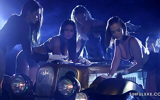 Hot girls in white gloves are touchings a car be required of several rich man