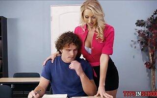 Blonde teacher seduces student