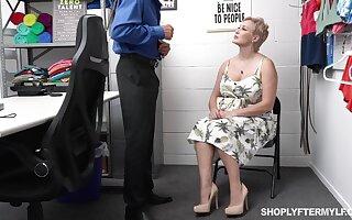 Super glum big woman gets punished for shoplifting