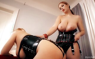 Dominant MILF plays with filial slut in dirty femdom abode action
