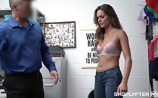 Good looking woman Aila Donovan gets punished for shoplifting