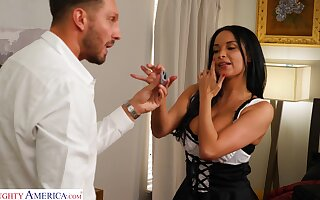 Domineer MILF dressed in a sexy French maid outfit has sex with her boss