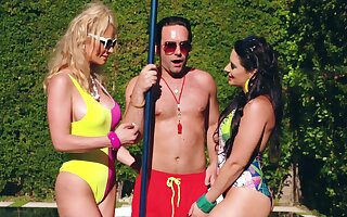 MILFs share make an issue of lifeguard's big dick greatest extent on the top of holiday