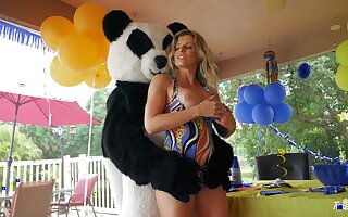 Energized dam sure loves bonking with eradicate affect young dude far Panda costume