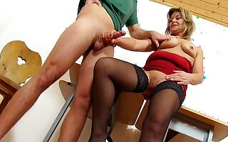 Of age fat Teacher Jane Good-luck piece handjob