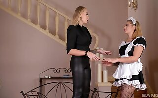 The hot maid is pleased to play obedient for her dominant mistress