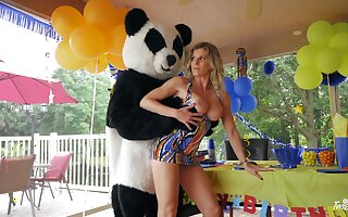 Panda hold to fucks horny matured ahead of a birthday orchestra