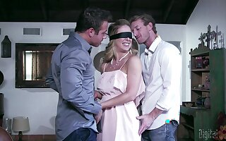 Blindfolded wed Cherie DeVille sucks and rides another man
