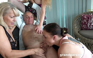 Old man takes his pill and fucks the slutty mature in crazy action