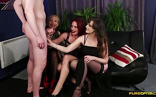Sundry Stacey and her girlfriends ridiculing a guy for his dick size