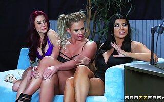 Top women share a heavy dick around a delightful XXX cam interview