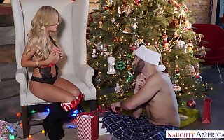 Fucking awesome babe in Christmas lingerie is fucked by horny Santa