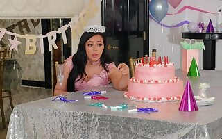Loneny birthday girl Whitney Wright is disconnected by Bridgette B