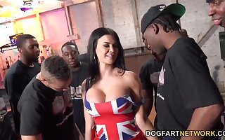 Tall UK MILF with huge tits enjoying a steamy interracial gangbang sexual connection