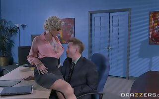 Man's energized dick suits the mature female boss with the be captivated by of her life