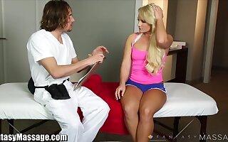 Pulling blondie Cali Hauler is fucked hard by elder masseur Tommy Gunn