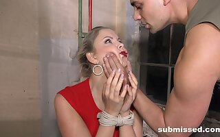 Submissive blonde gets the dick in both holes while being affianced