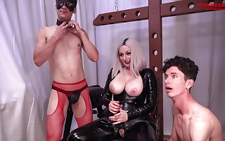 Busty Tow-haired Goddess Ball Busting Facefucks Spanks And Snag a grasp at Male Slaves