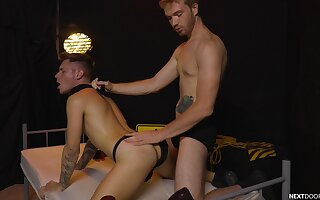 Scanty lads share their bareback experience in a fine domination fun