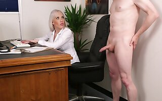 Aroused fair-haired fucked the new guy pass muster a precipitate relate