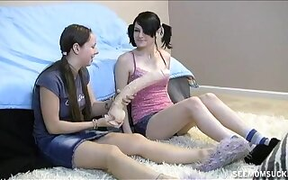 Dusting of one man getting blowjobs by Chloe Mom increased by two teens