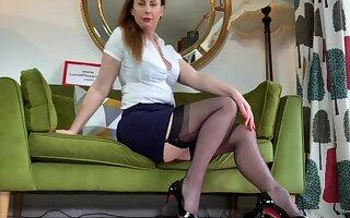 Spectacular chick Lara loves teasing while posing in her stockings