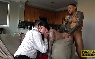Two blokes expose sexy Charlotte Sartre to a hardcore romp