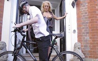 Cyclist sea with alluring older woman Rebecca Jane Smyth