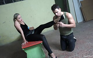 Ass eating and pegging between a male slave and Julia Parker