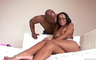 Sweet ebony wants spunk in excess of say no to nerdy glasses