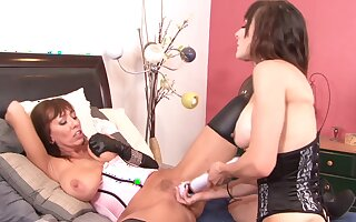 Naughty matures Alia Janine plus Cytherea have kinky poofter sex