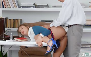 Massive dick suits teen slut in the office
