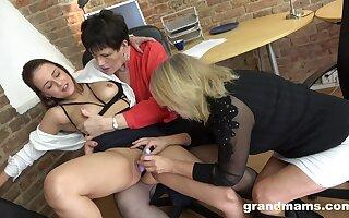 Lesbian Trine In The Boss Office