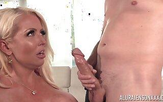 Big ass blonde mature gets cum on tits - Alura Jenson - cumshot
