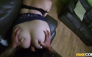 Fake cop deep fucks this big booty blonde until he cums inside her