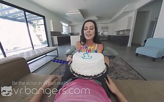 Birthday cake and busty neoghbor MILF