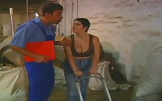 Gorgeous european chubby milf gets fucked by a worker