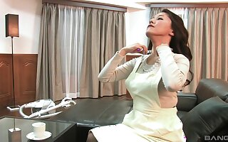 Japanese wife pleasures her puss and gives an amazing blowjob