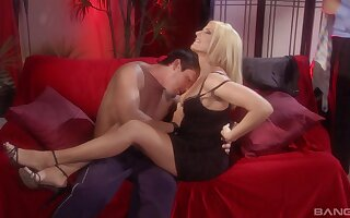 Horny blonde wife Satine Phoenix gets shared in MMF threesome