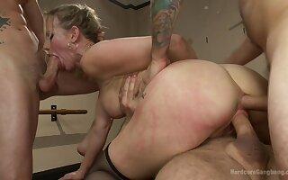 A lot of horny dudes VS one hot blonde pornstar Simone Sonay