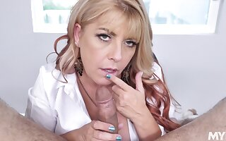 POV video of a lucky guy getting sloppy blowjob from Joclyn Stone
