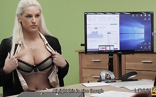 Busty blonde Blanche gives herself to loan agent in office