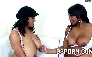 Hot ebony lesbians play with dildos in ass and pussy