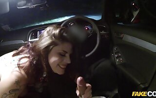 Curvy amateur girl Lucia fucked in the police car by a fat cock