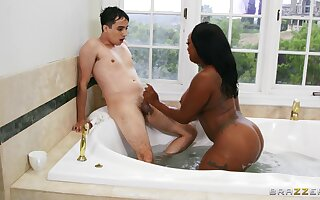 Chubby ebony model Jayden Starr fucked by a large white dick