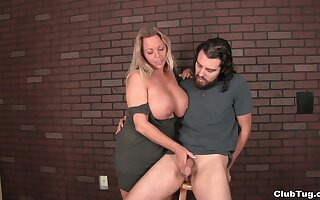 Amateur dude with a big dick got pleasured by blonde Amber Bach